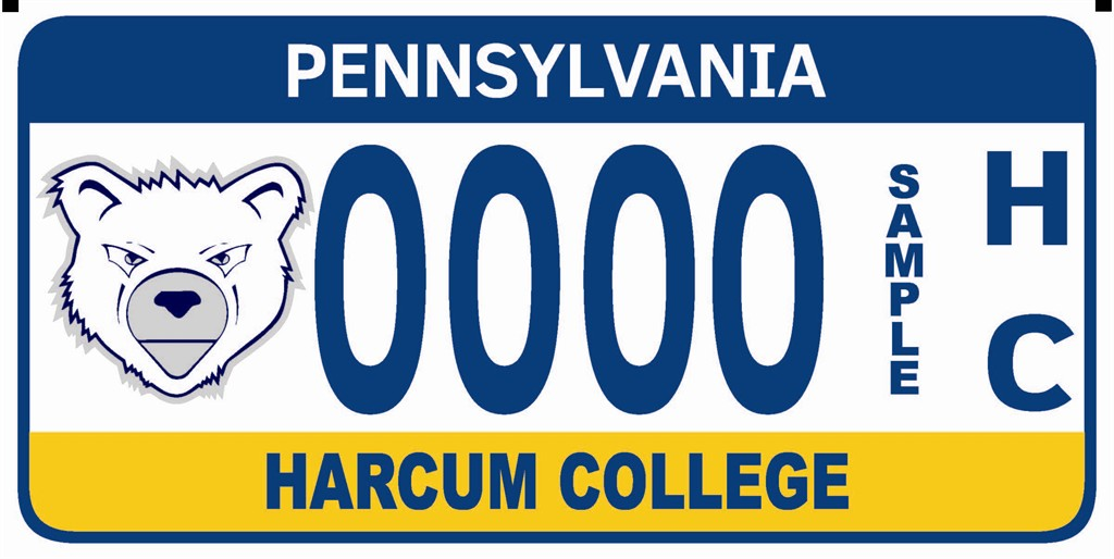 Official Harcum College License Plate